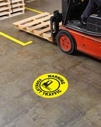 Forklift traffic floor sign warning