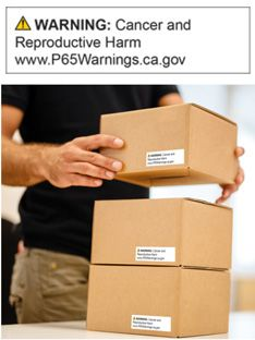 Boxes with Brady's Prop 65 labels