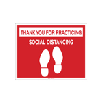 Social distancing floor sign with legend - thank you for practicing social distancing